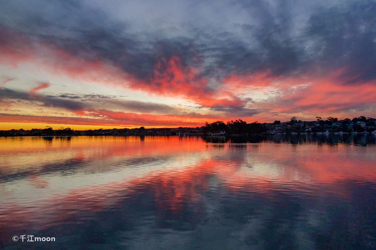 悉尼海湾绝美晚霞,宛如天空之境!
