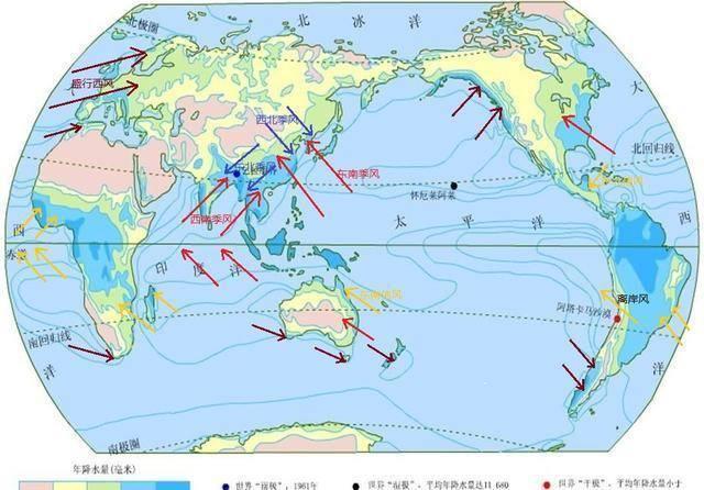 读世界年降水量分布图,来寻找世界年降水量最少和最多的地区图片