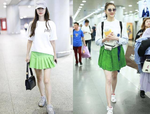 杨颖和关晓彤,同穿T恤配小绿裙,生过孩子少女感也丝毫不输