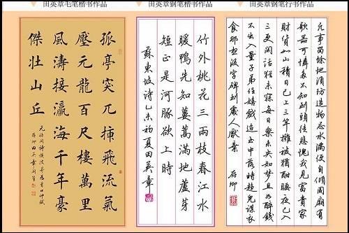 上图田英章的毛笔硬笔字,不管是田英章还是庞中华都有人非常喜欢,非常的厌恶.图片