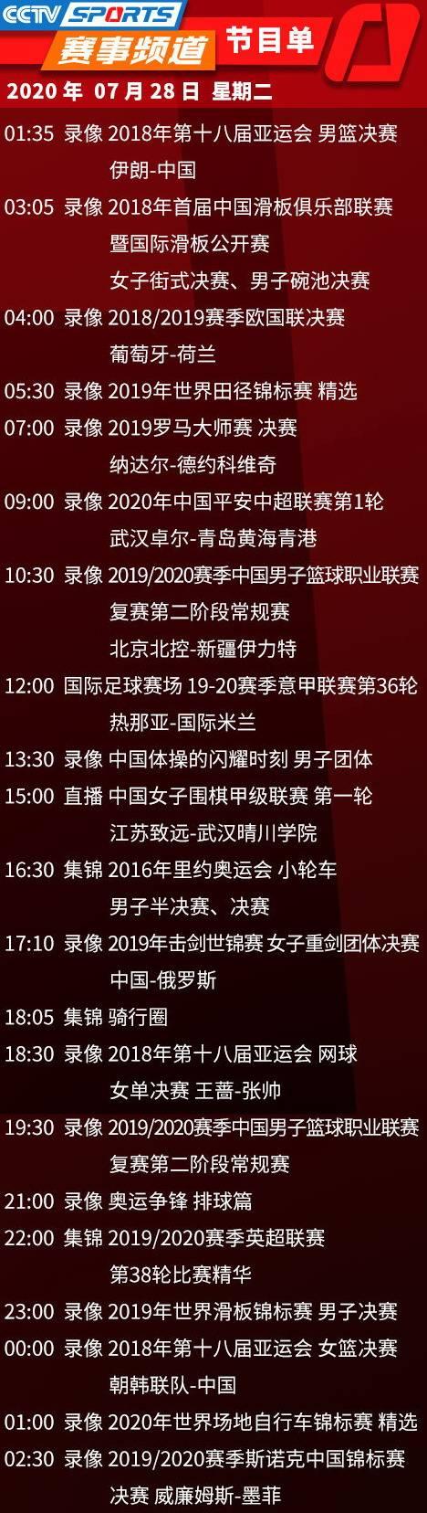 今日央视节目单,CCTV5直播中超报道+意甲国米VS那不勒斯,5+围棋