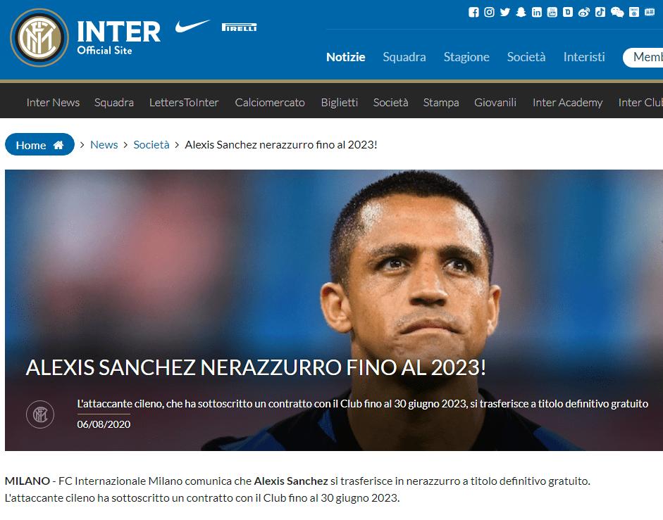 官方:国米宣布桑切斯自由身加盟 签约至2