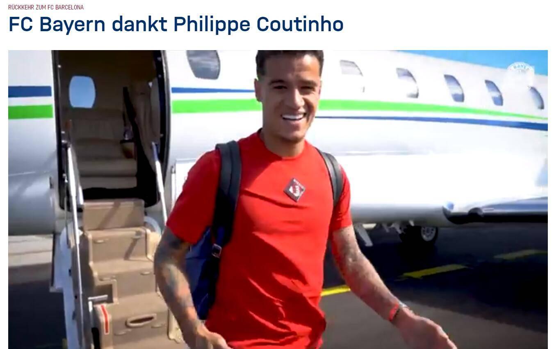 官方:库蒂尼奥完成在拜仁租借 即将重返