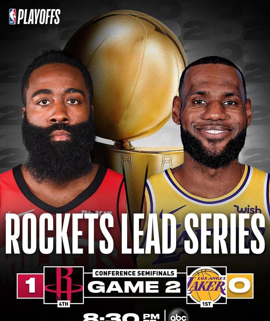 9月7日NBA半决赛G2湖人vs火箭视频直播,湖人vs火箭全场录像回放