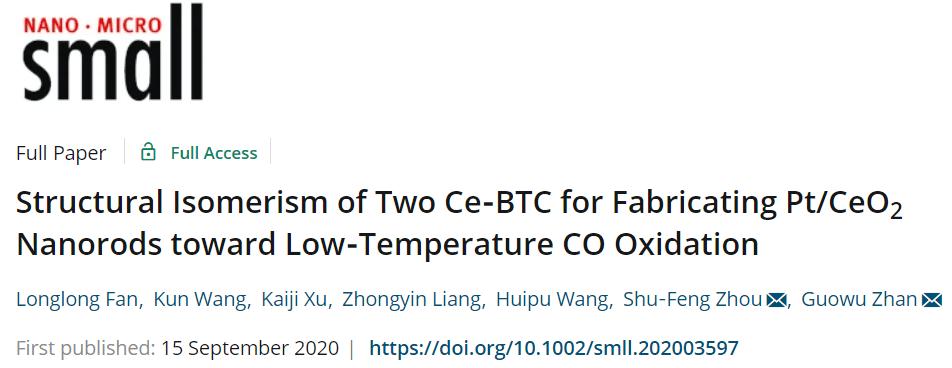 华侨大学:以MOF异构体为前驱体合成Pt/CeO2纳米催化剂