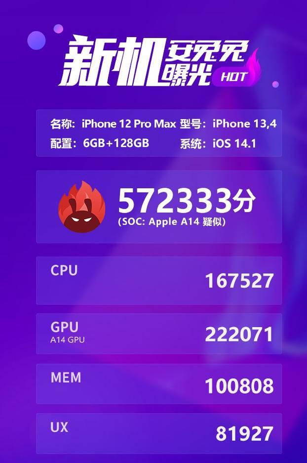 苹果iPhone 12 Pro Max A14安兔兔跑分曝光