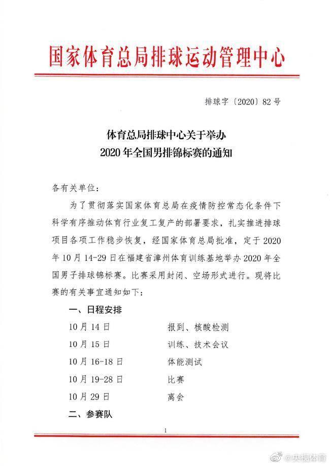 全国男排锦标赛于10月14日开战 将采用空场封闭形式