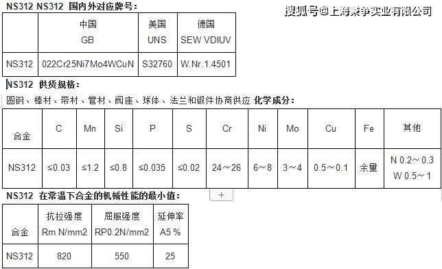 NS312双相钢身分性能 NS312圆钢板材尺度