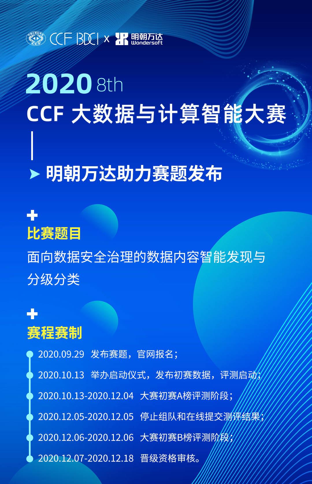 明朝万达助力CCF大数据与计算智能大赛,诚邀数据精英同台竞技