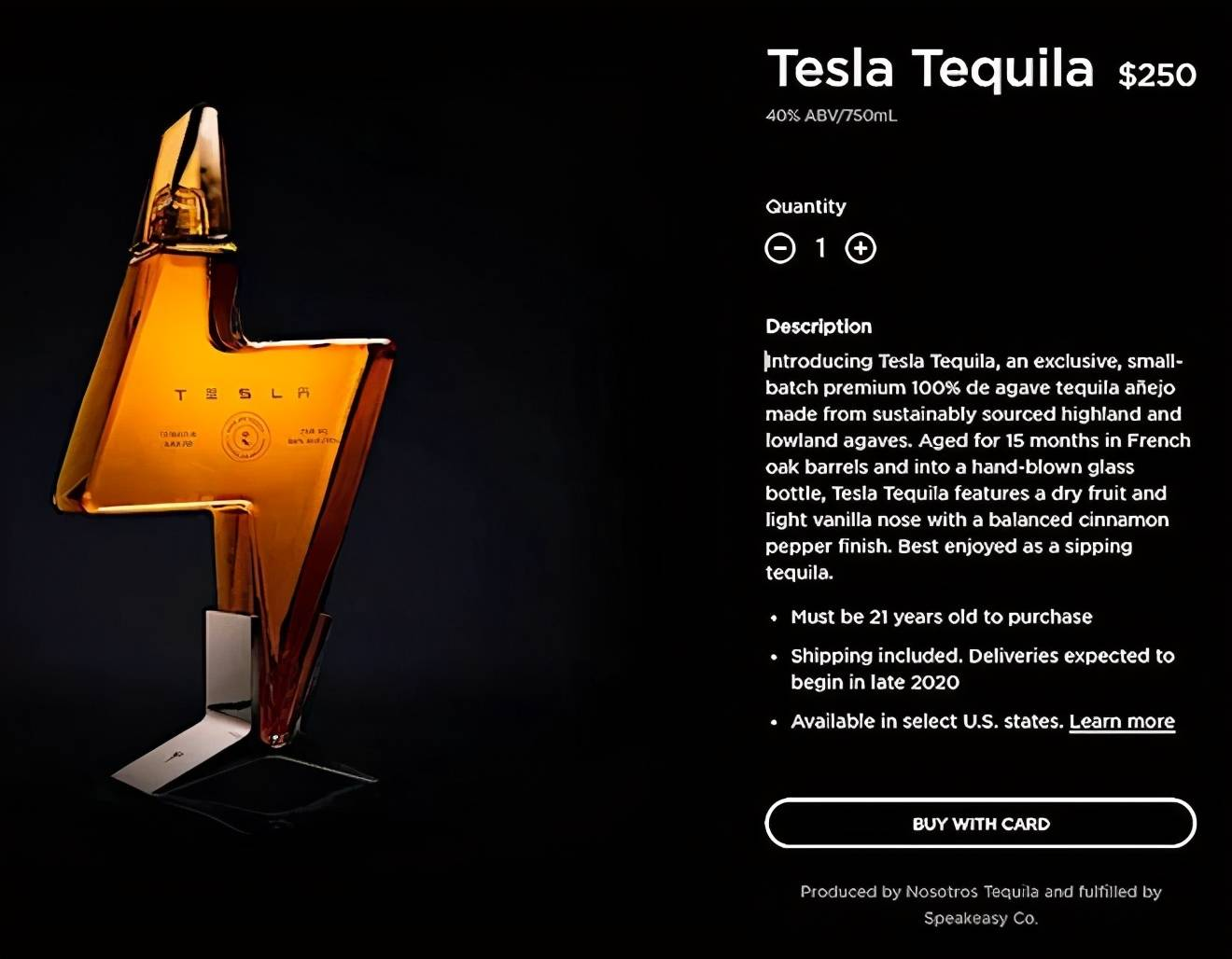 特斯拉卖酒了,特斯拉龙舌兰酒,售价高达250美元(折合人民币约1652元)!