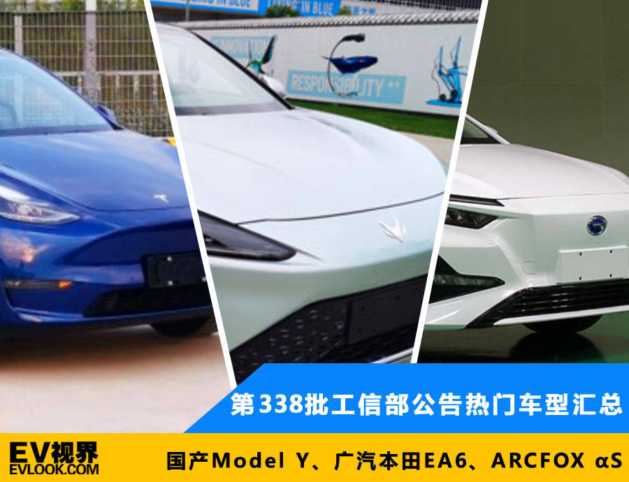 第338批国产Y型和ARCFOX αS公布流行车型总结