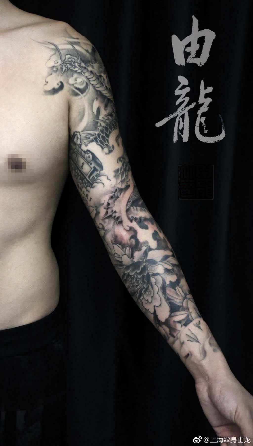 半臂杨戬纹身