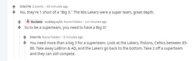 原创             美媒发问湖人是一支超级强队吗?美球迷:不,差第三巨不如80年代