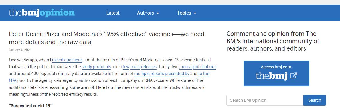 英国医学杂志称辉瑞疫苗有效率仅为29%?仅是个人质疑,无实验数据证实