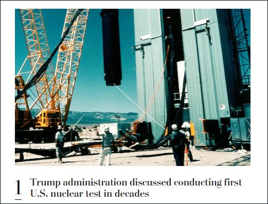 污蔑中俄后,美国被曝讨论重启核试验