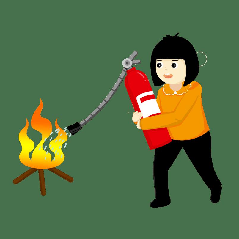 消防安全使用灭火器的小女孩设计图