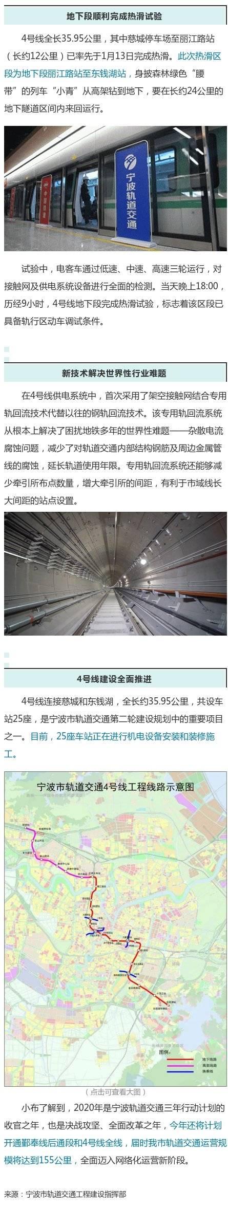 宁波地铁4号线最新进展!24公里地下段完成热滑试验