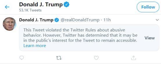 坐等开骂,特朗普警告示威者推文被推特以违反社区规定为由屏蔽