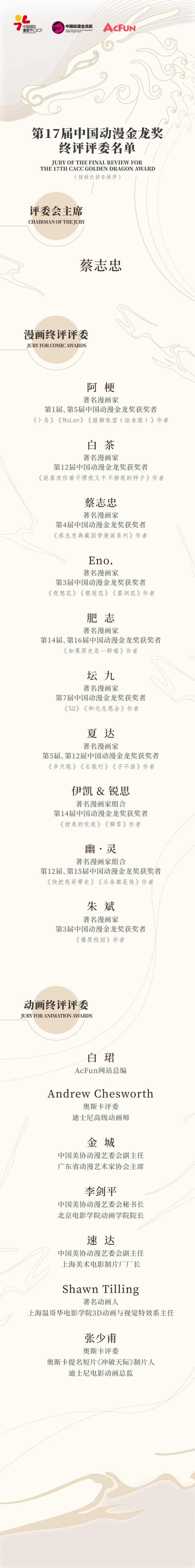 中国动漫金龙奖公布终评评委名单,奥斯卡奖评委加盟