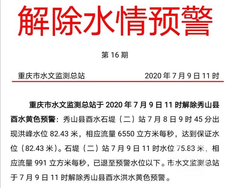 秀山县酉水水位退至预警水位以下 洪水黄色预警解除