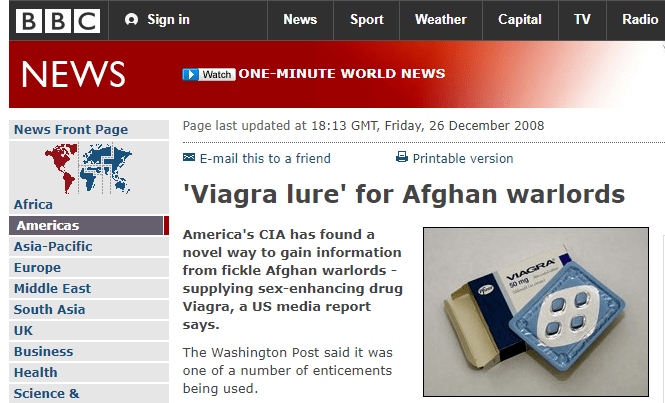 BBC报道,美国通过提供给阿富汗军阀伟哥来交换塔利班情报