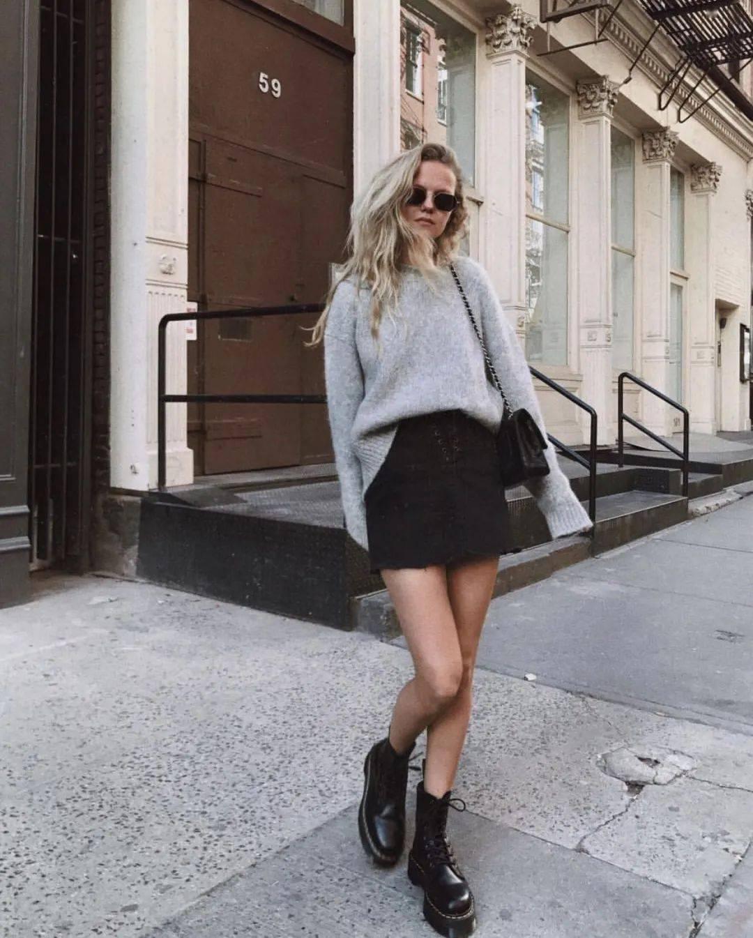 马丁靴+裙子,马丁靴+工装裤……又酷又撩,时髦炸了!     第65张