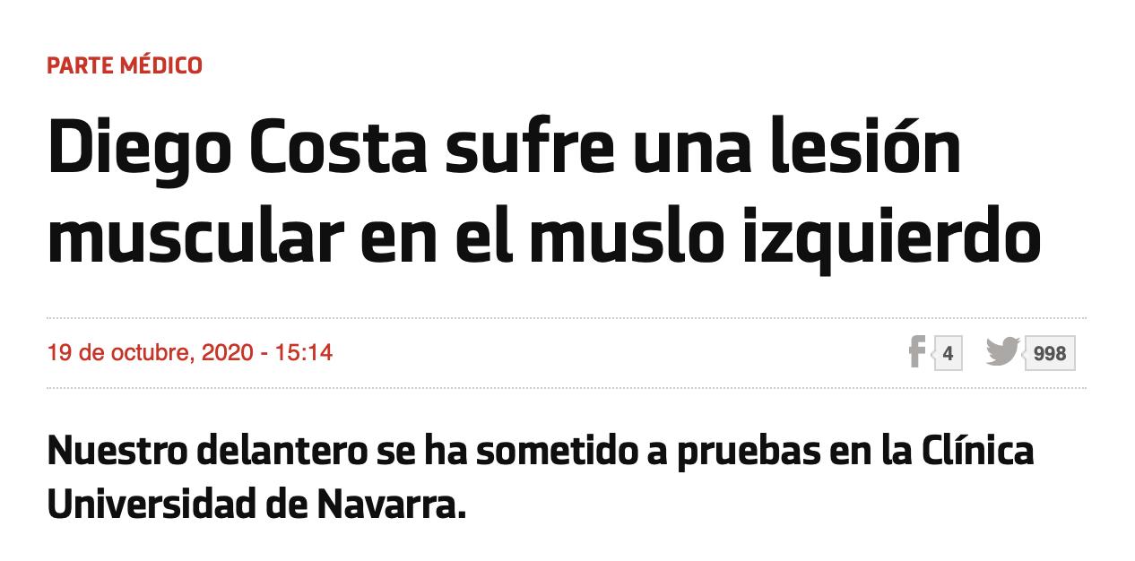 马竞官方:科斯塔左年夜腿肌肉受伤,有待进一步检讨