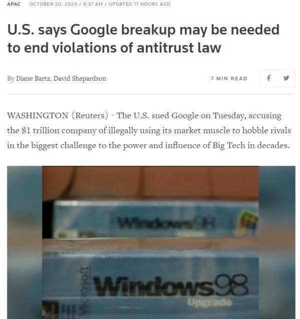 美司法部对谷歌提起反垄断诉讼时机微妙引发政治联想
