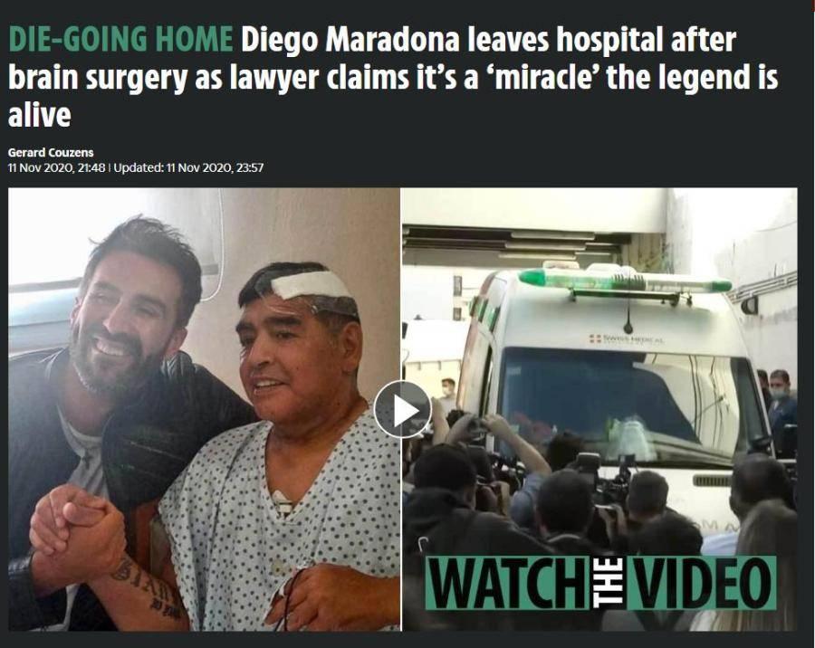 马拉多纳手术后出院返回住所 将继续接受康复治疗