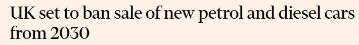 百事3注册外媒:英国将宣布从2030年起禁止销售新的汽油和柴油汽车