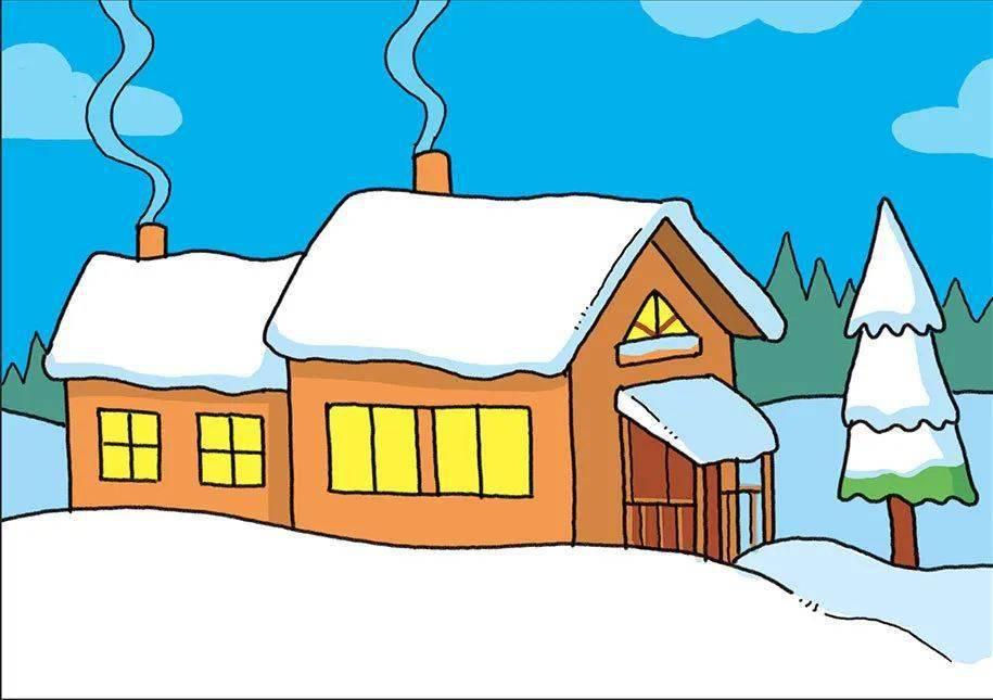 冬天的简笔画 雪地小屋和雪人