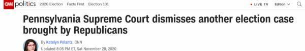 共和党竞选诉讼被驳回 宾州法院拒绝暂停认证选举结果
