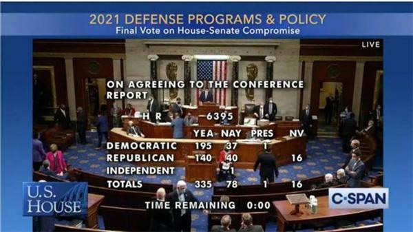 美众议院通过2021财年国防授权法案 锐评:相关动向值得警惕
