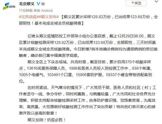 今日北京顺义新冠疫情最新消息公布 北京顺义累计核酸采样128.82万份