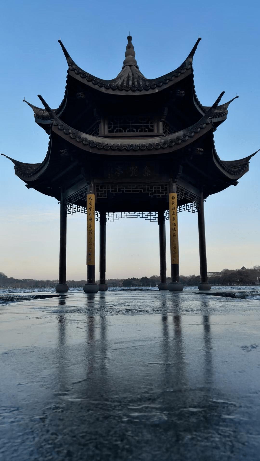 西湖真的冻住了!今天整个浙江最冷的地方