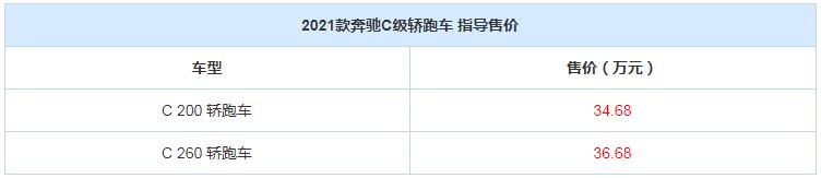 2021款奔驰C级轿跑车上市 售34.68万起 -XI全网
