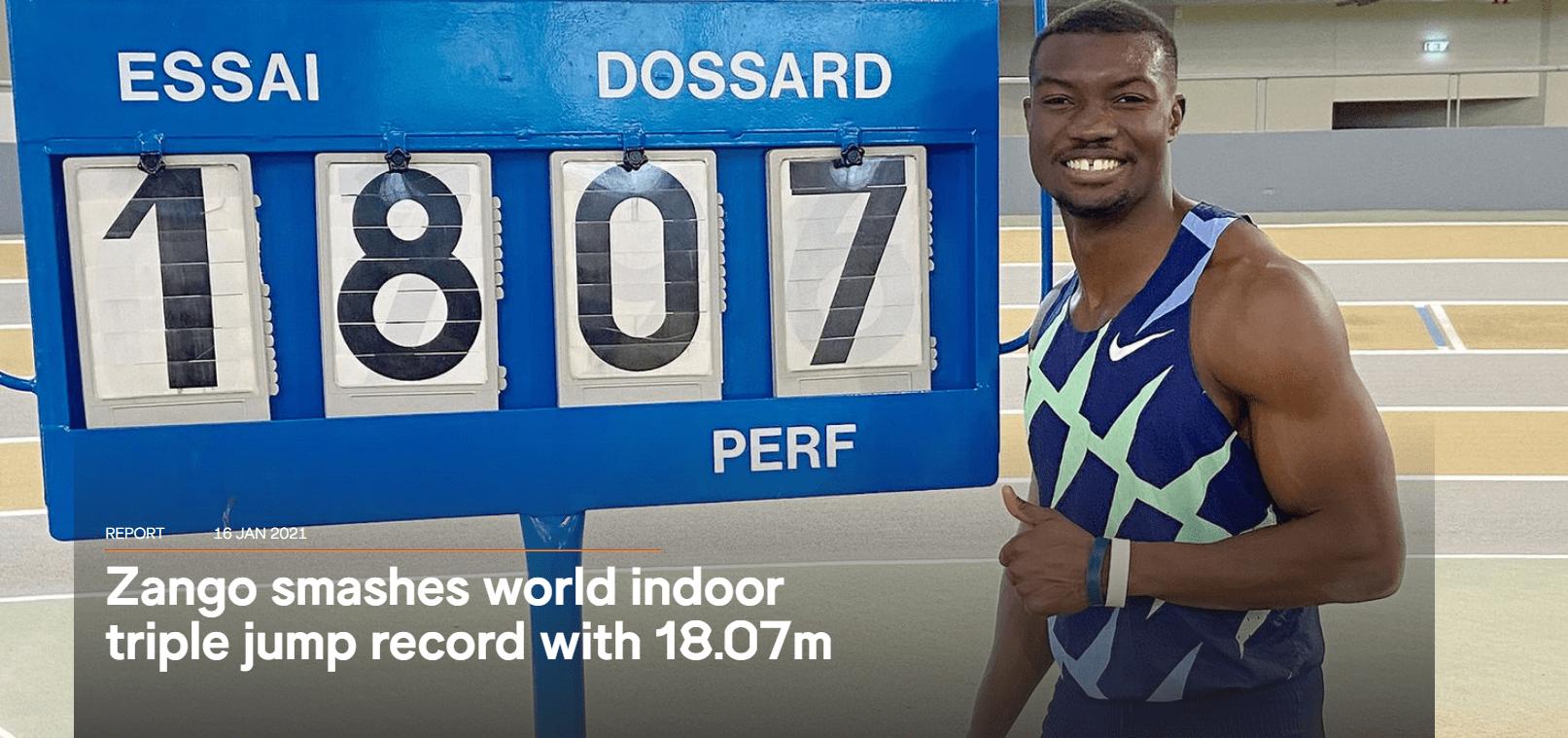 非洲小伙三级跳创18米07 2021田坛诞首个世界纪录