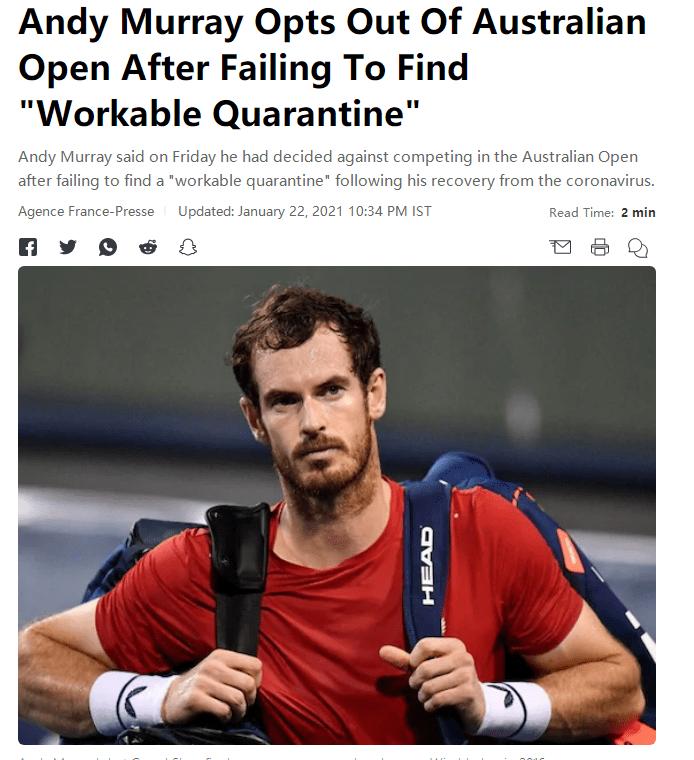 因隔离条件无法协商一致 英国天王穆雷退出澳网