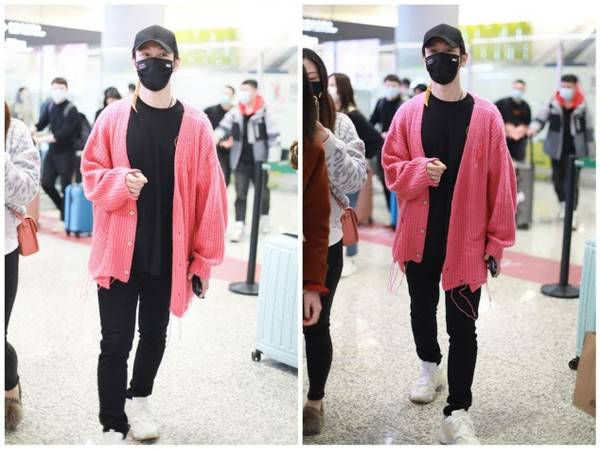 """原创             黄晓明瘦了真任性,机场穿粉色开衫扮潮,被""""五五分""""身材尬到了"""