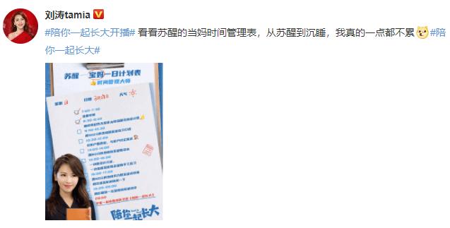 刘涛晒当妈时间表,一天13小时围娃转,网友:妈妈太不容易了