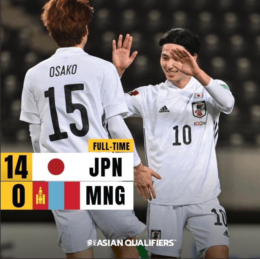 40强赛-沙特队5-0升榜首 日本男足14-0大胜创纪录