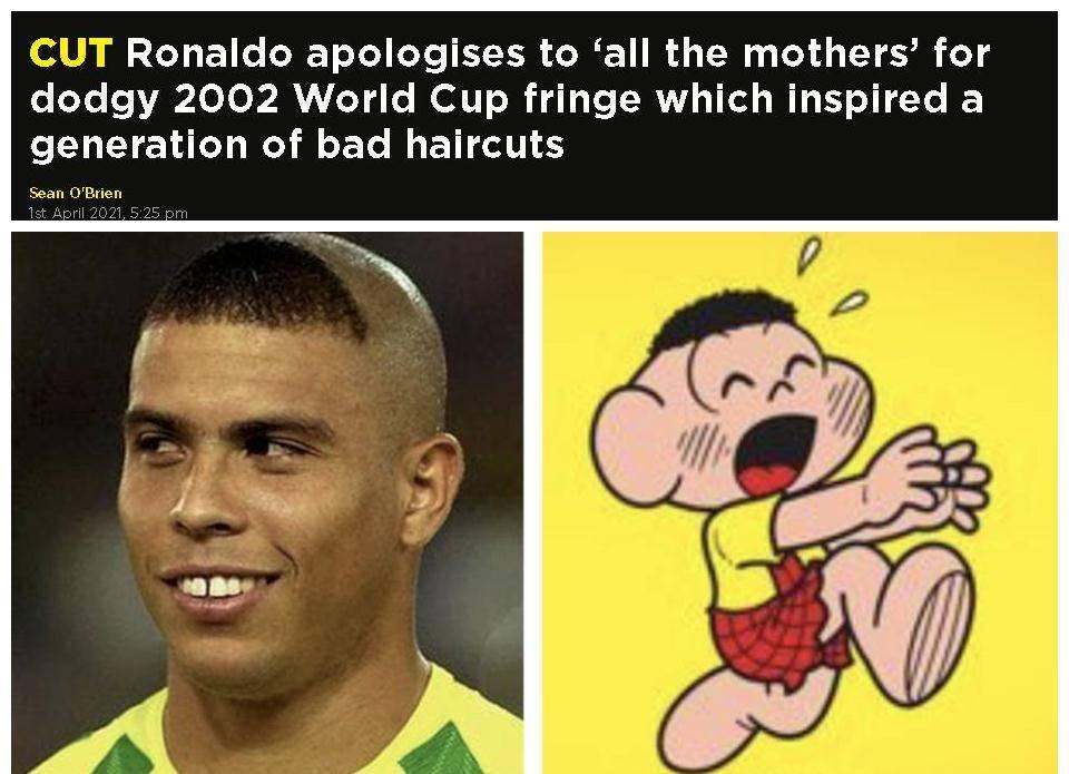罗纳尔多谈阿福头:太可怕了 我向所有的妈妈们道歉