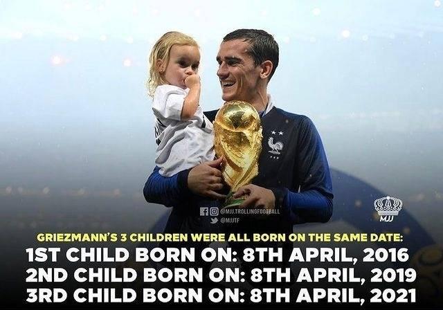 神奇!格列兹曼三个孩子同月同日出生 都是4月8日