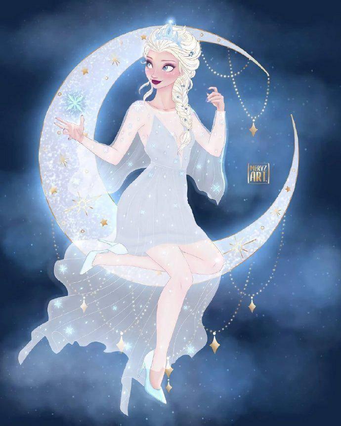 坐在月亮上的迪士尼公主,艾莎女王闪闪发光,