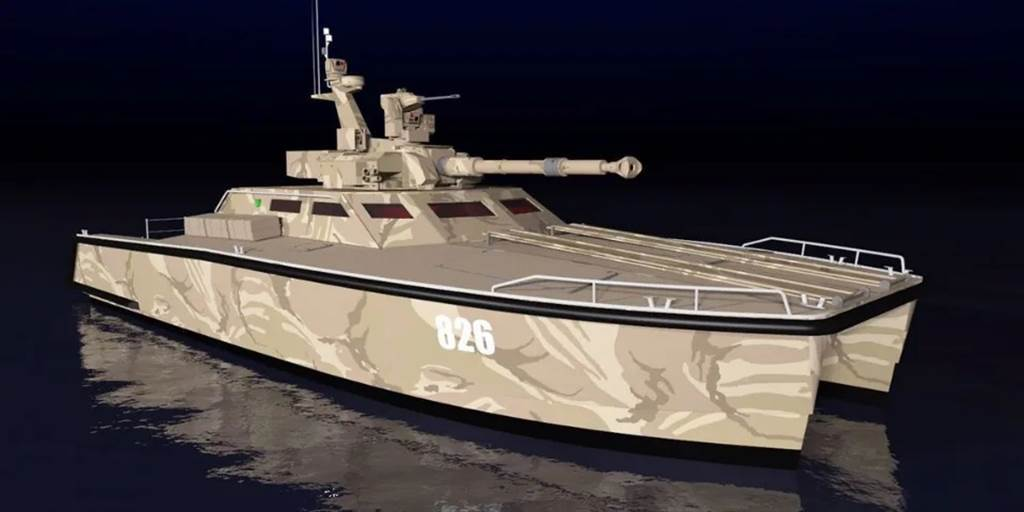 The tank boat uses a high-speed catamaran as a platform
