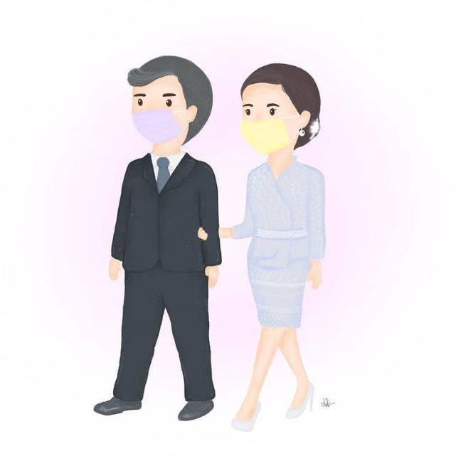 原创             苏提达和泰王最新卡通漫画出炉!帝后果然配,王后收腰蓝裙好高贵