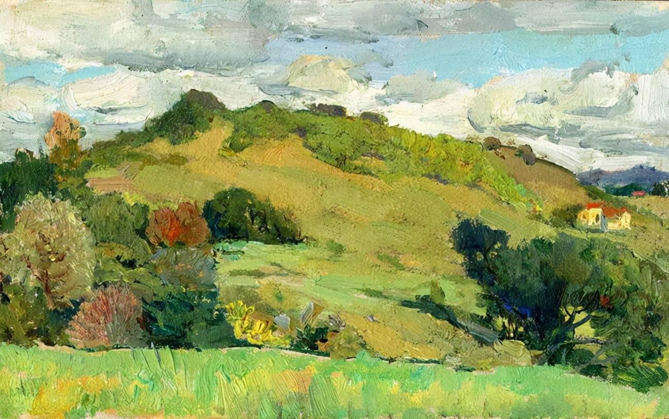 著名油画家杨鸣山的风景写生作品