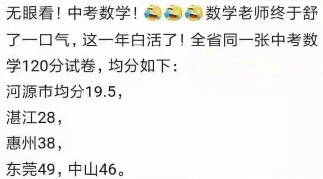 """广东一地区中考数学""""翻车"""",人均只有36分,老师哭诉教了个寂寞"""