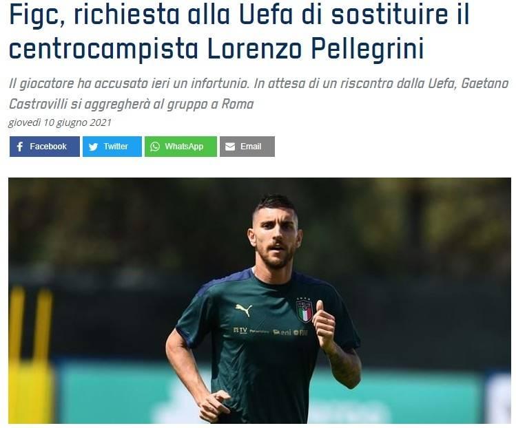 意足协官方:佩莱格里尼受伤 申请卡斯特罗维利入替