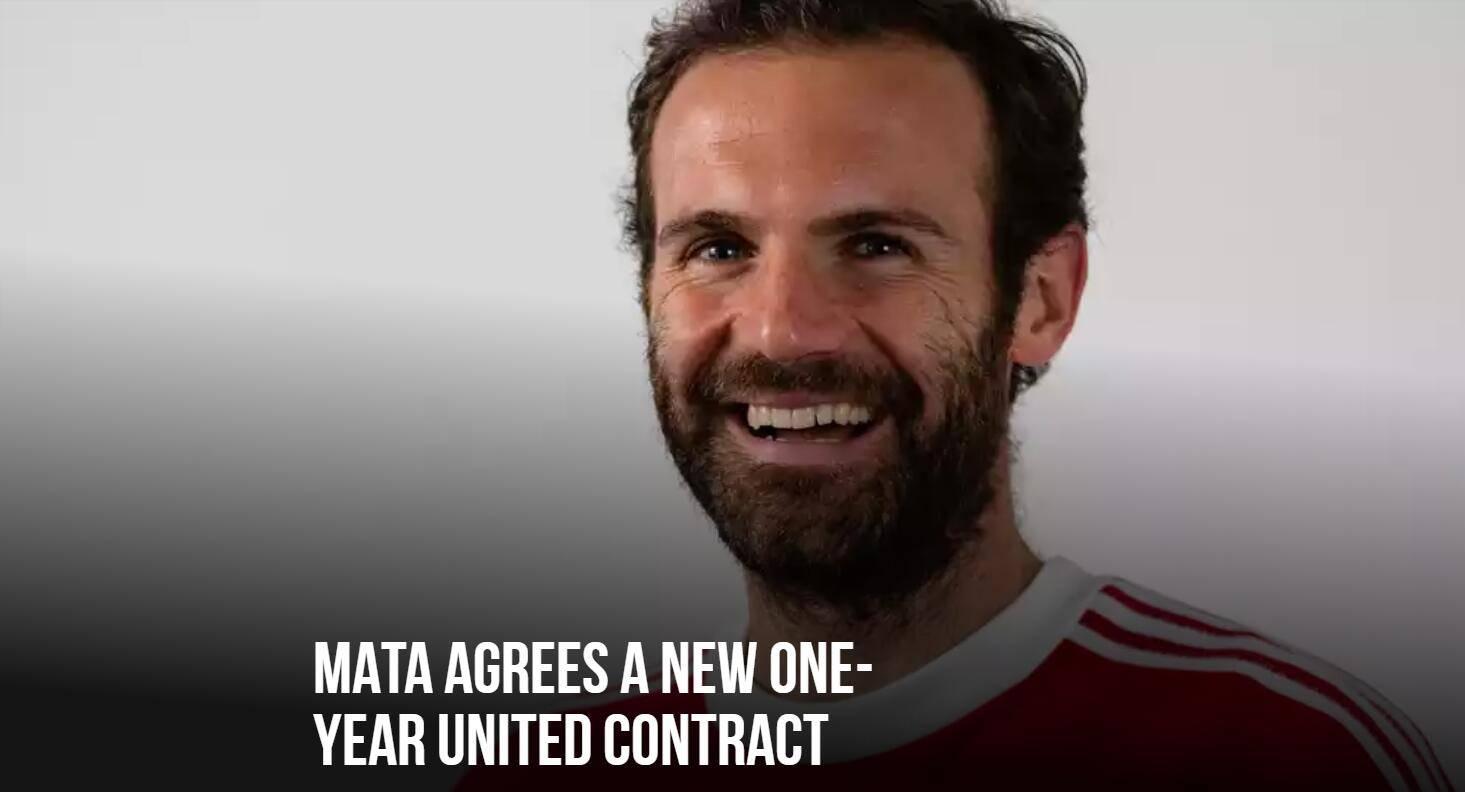 官方:曼联颁布发表续约33岁马塔一年 新合同至2022